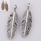 35Pcs New hot Retro Silver/Bronze Long Leaf Charm Pendant Findings