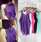 Women Summer Spaghetti Strap Strappy Cami Solid Shirt Chiffon Vest Top Blouses