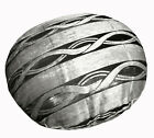 mq04n Silver Metallic Black Ash Grey Wave Shimmer Velvet Round Cushion Cover