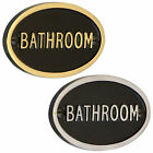 Bathroom Sign in Black & Polished Brass or Chrome - Heavy Cast Embossed Text