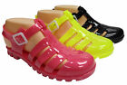 New Ladies Womens Retro Jelly Summer Flat Sandals Beach Holiday Yellow Pink
