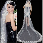 Chic 1T White/Ivory Applique Edge Cathedral Wedding Bridal Veil Different Length