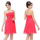 Ever Pretty New One Shoulder Red Chiffon Cocktail Bridesmaid Party Dress 03531