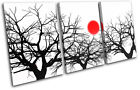 Trees Sun Abstract TREBLE CANVAS WALL ART Picture Print VA