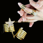 1x Fashion Women Lady Star Crystal Gold Finger Stacking Metal Wrap Joints Ring