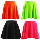 Girls Skater Skirts Kids Plain Skirt Neon Summer Fashion 7-13 Years