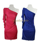 Women Sexy Party Evening One Shoulder Bridesmaid Prom Ball Short Dress Formal