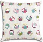 """Molly Multi Owls 18"""" x 18"""" Cushion Cover Or Complete Cushion One Pair (2)"""