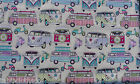 HAPPY CAMPER VAN CANDY OILCLOTH  WIPE CLEAN PVC TABLECLOTH CO click for sizes