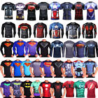 Superman Batman Spiderman Logo Men Compression Shirt Top Short Sleeve Tight Wear