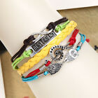 fashion multicoloured multilayer leather weaves infinity charm jewelry bracelet