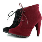 Women Round Toe Lace Up High Heel Pony Hair Military Combat Ankle Booties Boots