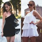 Super Sexy Women's Hem Layers One Shoulder Strap Cocktail Evening Chiffon Dress