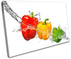 Peppers Water Splash Food Kitchen SINGLE CANVAS WALL ART Picture Print VA