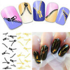 Nail Art Stickers Peacock Feather Zip Style Manicure Wraps Water Transfers Decal