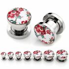 2x Stainless Steel Screw Flower Ear Tunnels Plugs Expander Stretcher Punk Gauges
