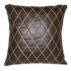 pj06a Brown Diamond Soft Faux Leather Skin Emborider Foam Backing Cushion Cover