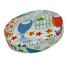 le07r Red Blue Bird Owl on Beige Cotton Canvas 3D Round Seat Cushion Cover Size