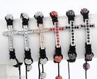 Woven Crystal Cross Disco Hip Hop Pave Ball Macrame Bracelet Bangle Cuff Hot