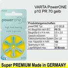 PowerONE Hearing-Aid-Battery  Cochlear Implant + p-10-13-312-675 PR-70-41-48-44