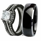 His Tungsten Her 4 Piece Black Stainless Steel Wedding Engagement Ring Band Set