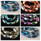 10pcs Faceted Glass Crystal Long Flat Oval Beads Spacer Crafts 32x16mm Charms