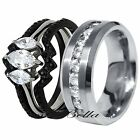 His Hers 4 Piece Black Stainless Steel AAA CZ Engagement Wedding Ring Band Set