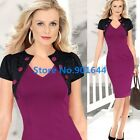 New Vintage Black Lace False Capelet Work Women Bodycon Party  Summer Dress Y798