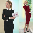 XS to 2XL size Formal Women Bodycon Woven Trims Long Sleeve Autumn Dress Y751