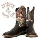 Jama Old West Chocolate Square Toe Boot with Camo Top BSY1816