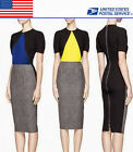Modern Three-color Patchwork Women's Wear To Work Pencil Dress US Local Shipment