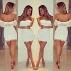 Womens Sexy Off Shoulder Lace Clubwear Bodycon Evening Party Cocktail Mini Dress