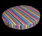 ak333r Pink Yellow Black Purple Stripe Cotton Canvas 3D Round Seat Cushion Cover
