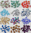 HOT 40PCS OVAL MIXED COLORFUL CRYSTAL AB 4X6MM LOOSE BEADS 12 COLOR