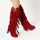 Womens Vintage Faux Suede High Heels Fringe Tassel Western Knee High Boot Pumps