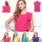 New Fashion Women's Chiffon Tulip Short Sleeve Casual Shirt Loose Blouse Tops