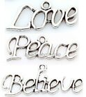 40Pcs Antique Silver Love Believe Peace Word Letter Charms Pendants Style Random