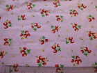 Strawberry pink patterned Fabric / material 100% cotton poplin Shabby chic