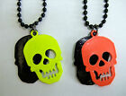 NEON SKULL DOG TAG STYLE DOUBLE LAYERED NECKLACE Sugar Skull Goth Emo Rockabilly