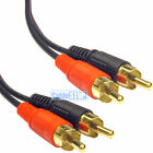 TWIN 2 RCA Gold Phono Male Plug Audio Lead Cable 50cm 1m 2m 3m 5m 10m 15m 20m