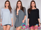 ☼ Women's Casual Asymmetric Top ☼ Boat Neck 3/4 Sleeve Tunic Size 8-12 FT927