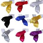 Pair Women Costume Evening Party Prom Ball Finger Gloves Satin 9 Colors