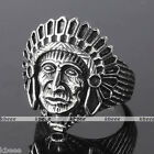Mens 316 Stainless Steel Cocktail Ring Carved Indian Chief Native American Gift