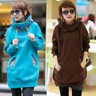 Coat Women long sleeve Pullover Hooded Hoodie sweatshirt Fleece Vintage 35DI