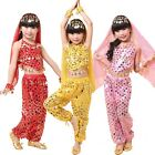 Kids Girls Belly Dance Costume Sparkly Circle Sequin Coins Top  Pants Skirt Set