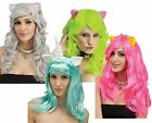 long hair fantasy - Fantasy Long Curly Womens Wig Hair w/ Ears Costume Accessory Mouse Cat Unicorn