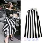 Women's Autumn Black White Stripes Bow High Waisted Full Skater Midi Dress Skirt