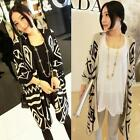 New Fashion Womens Geometry Long Cardigan Knit Sweater Knitwear Coat Womens Tops