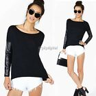 New Womens Long Sleeve Pullover Shirt Top Ladies Pu Leather Tops Plussize Blouse
