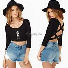 Scoop Neck Backless Womens Casual Sexy Blouse Tops Half Sleeve Crop Top T Shirt